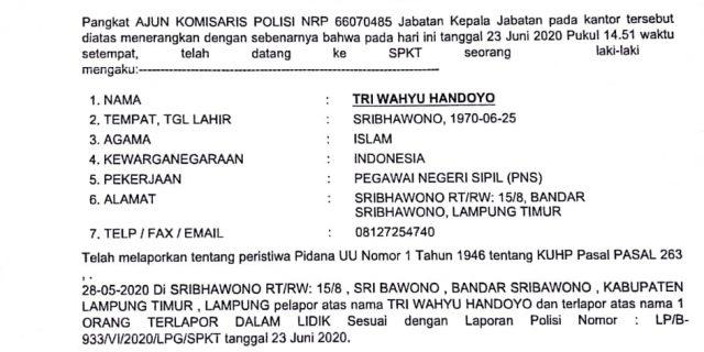 Kabag Umum Lamtim Resmi Lapor ke Polda Lampung